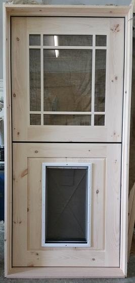 Exterior Door With Pet Door. Custom exterior dutch door with dog installed Adirondack Naturals Rustic slideshow